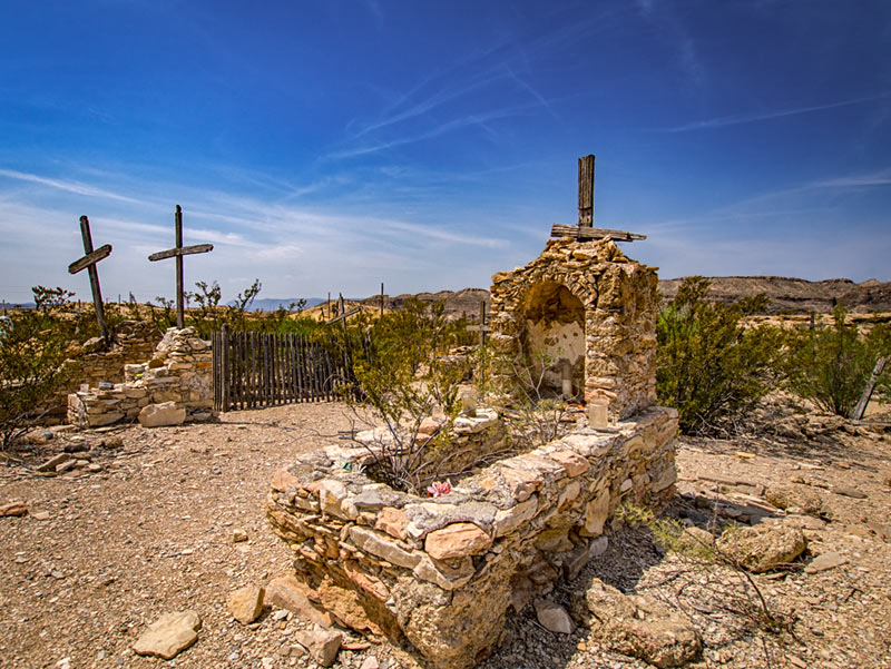 Native Stone Tomb with Wooden Cross