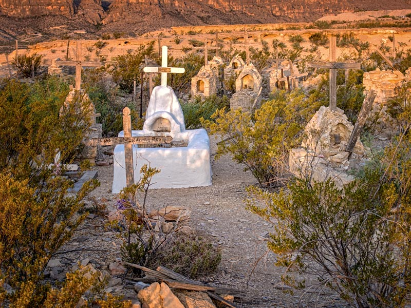 White plaster tomb Terlingua Cemetary
