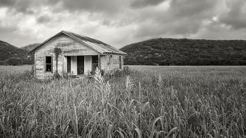 Abandoned Ranch House B&W